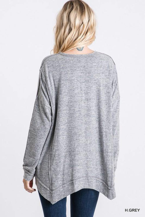 MORGAN SOLID KNIT ASYMMETRIC LONG SLEEVE TOP