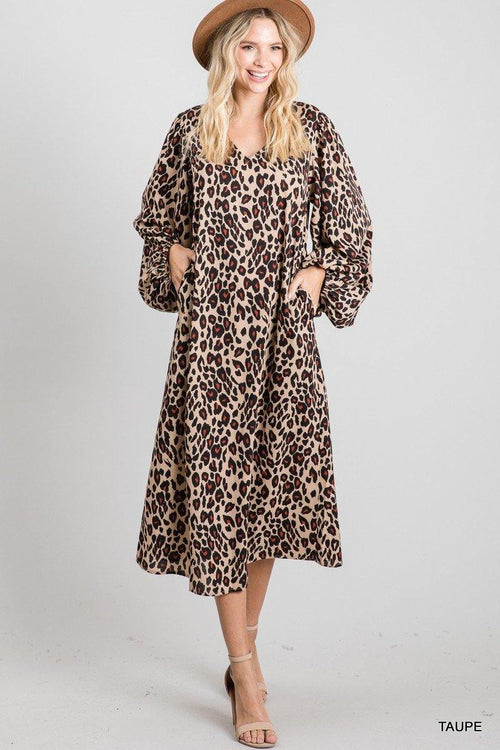 MEREDITH LEOPARD PRINT MAXI DRESS WITH POCKETS