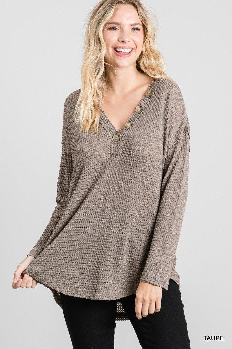 ASHLEIGH WAFFLE KNIT V NECK TOP