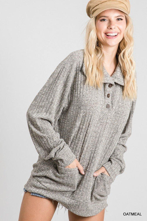 MADDIE RIBBED COLLARED POCKET SWEATER
