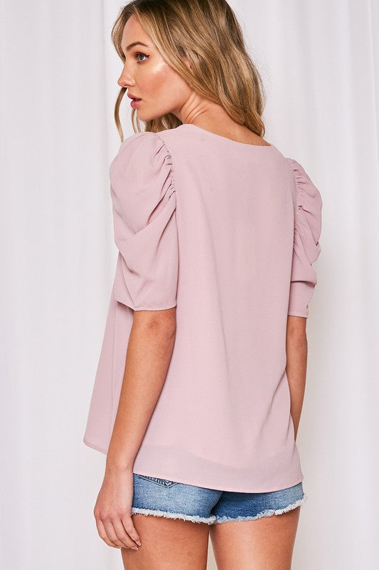 VIOLET V NECK PUFF SLEEVE TOP