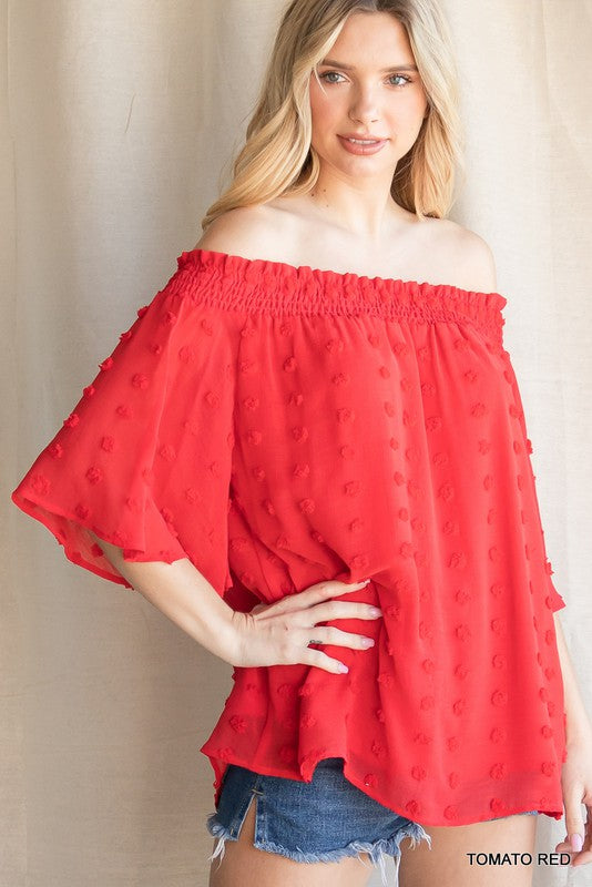 CHERRY CHIFFON OFF SHOULDER TOP
