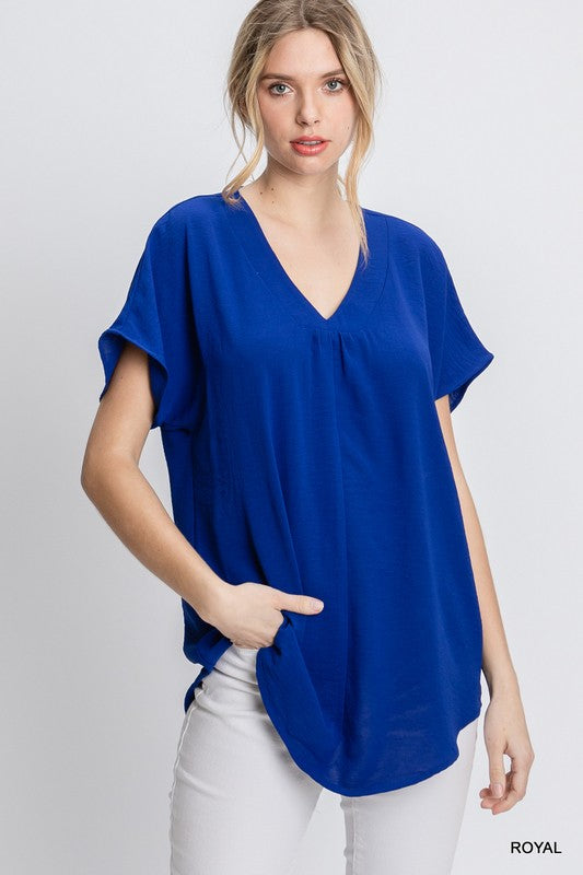 EMMA V NECK CAP SLEEVE TOP
