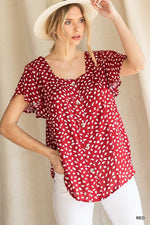 CHARLIE SPECKLED PRINT BUTTON TOP