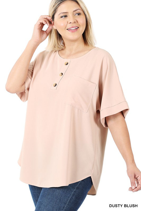CANDACE PLUS BUTTON FRONT TOP