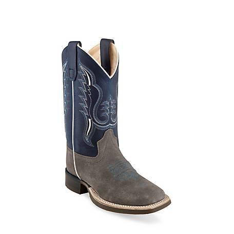 OLD WEST YOUTH ROUGHOUT GRAY AND NAVY BOOT - Patton's