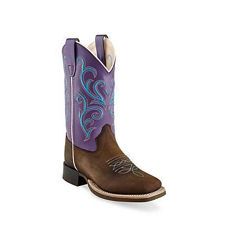 OLD WEST CHILDREN'S OILED BROWN & PURPLE BOOT