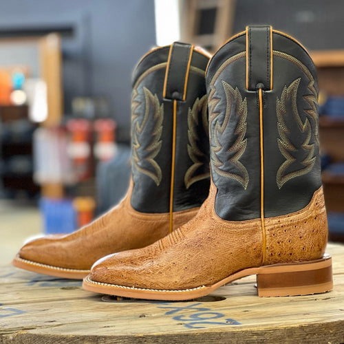 JUSTIN SMOOTH OSTRICH SQUARE TOE BOOT