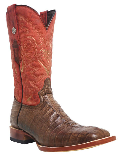 TANNER MARK MAD DOG NICOTINE PRINT CAIMAN TAIL SQUARE TOE BOOTS