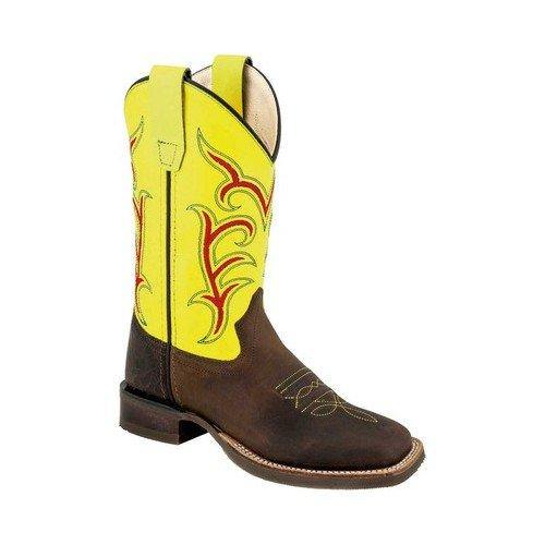 OLD WEST CHILDREN'S OILED BROWN AND BRIGHT GREEN BOOTS