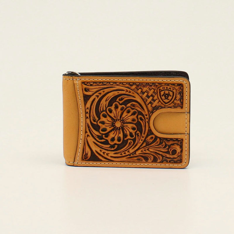 ARIAT BIFOLD MONEY CLIP FLORAL EMBOSSING LOGO WALLET