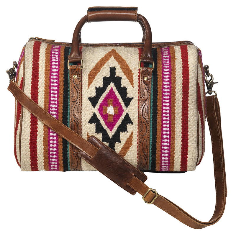 ARIAT DUFFLE MULTI COLORED BLANKET OVERNIGHT BAG