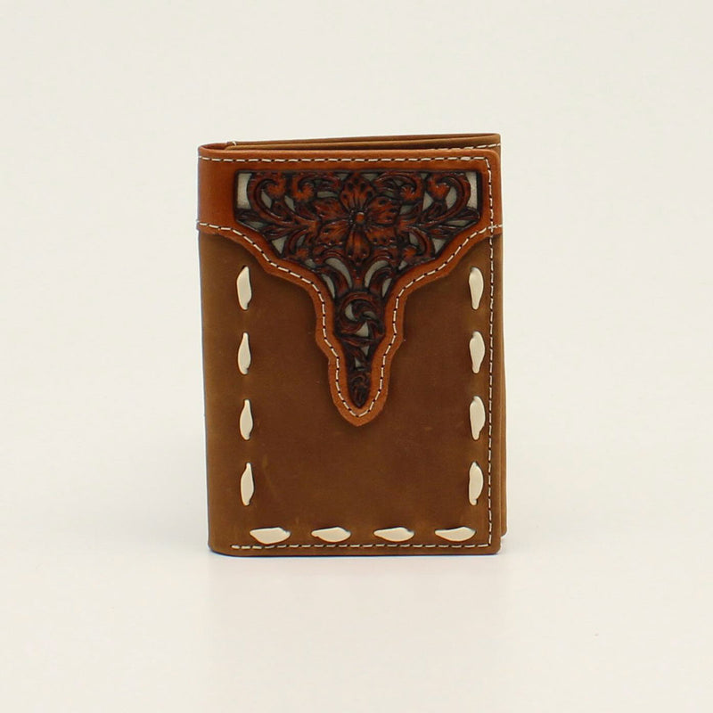 ARIAT TRIFOLD WALLET FLORAL TOOLED OVERLAY BUCK STITCH