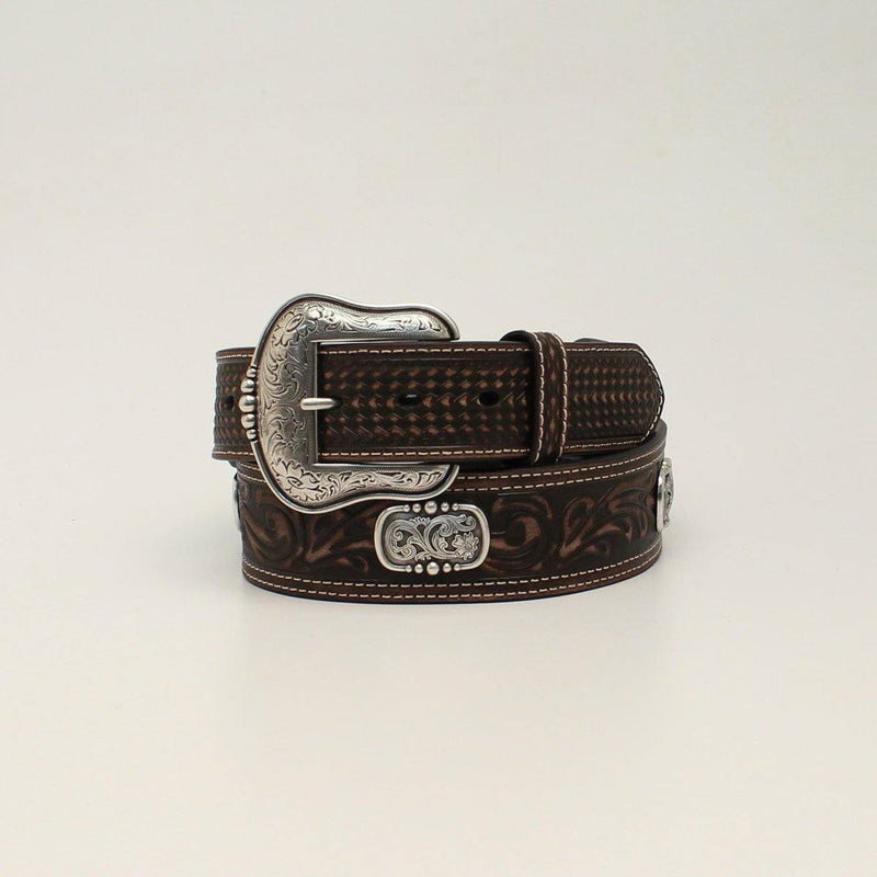ARIAT TAPERED DOUBLE STITCH OVAL CONCHO BROWN BELT