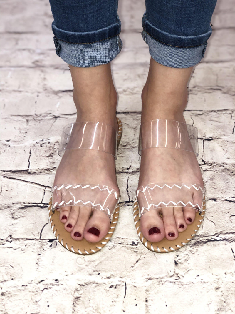 LIVY JANE CLEAR SANDAL-TAN/WHITE