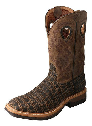 TWISTED X LITE WESTERN ALLOY TOE WORK BOOT CAIMAN/BOMBER