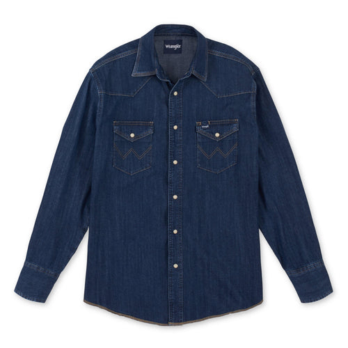 Wrangler® WESTERN LONG SLEEVE DARK DENIM SNAP SHIRT - Patton's