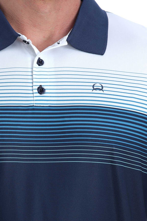 CINCH NAVY STRIPE ARENA FIT POLO