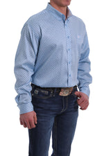 CINCH LIGHT BLUE GEO PRINT BUTTON SHIRT