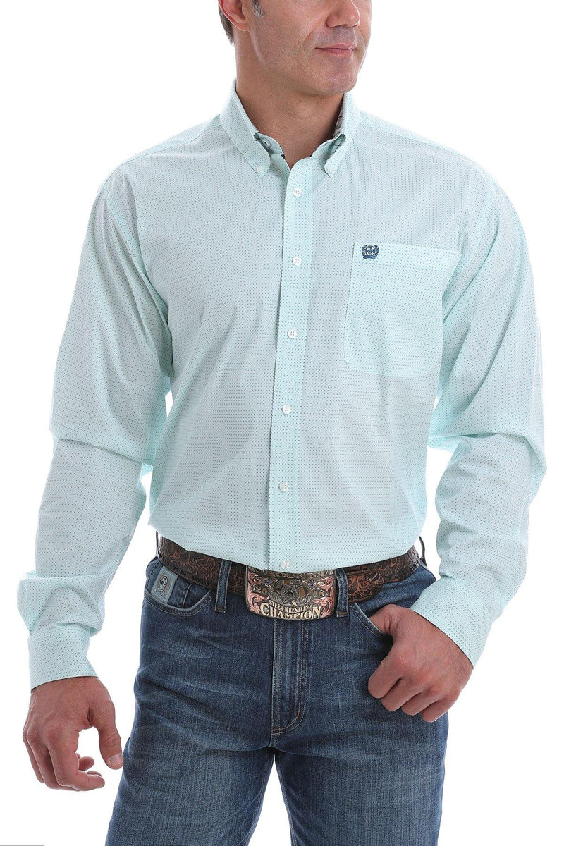 CINCH LIGHT BLUE MINI DOT BUTTON SHIRT - Patton's
