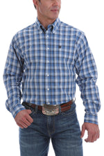 CINCH LIGHT BLUE NAVY & WHITE PLAID BUTTON SHIRT - Patton's