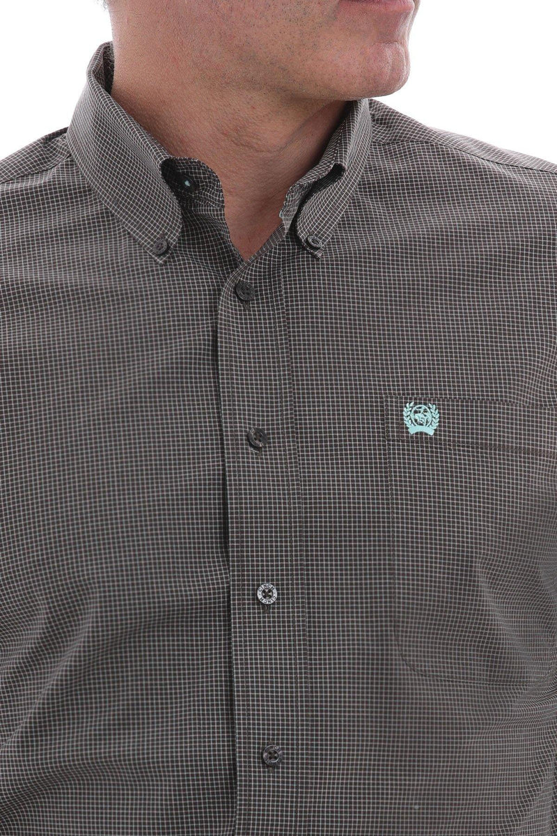 CINCH BROWN, TURQUOISE AND WHITE MICRO-PLAID BUTTON SHIRT - Patton's