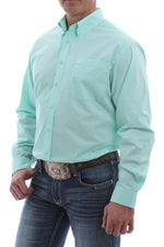 CINCH TURQUOISE AND WHITE GEOMETRIC PRINT BUTTON SHIRT