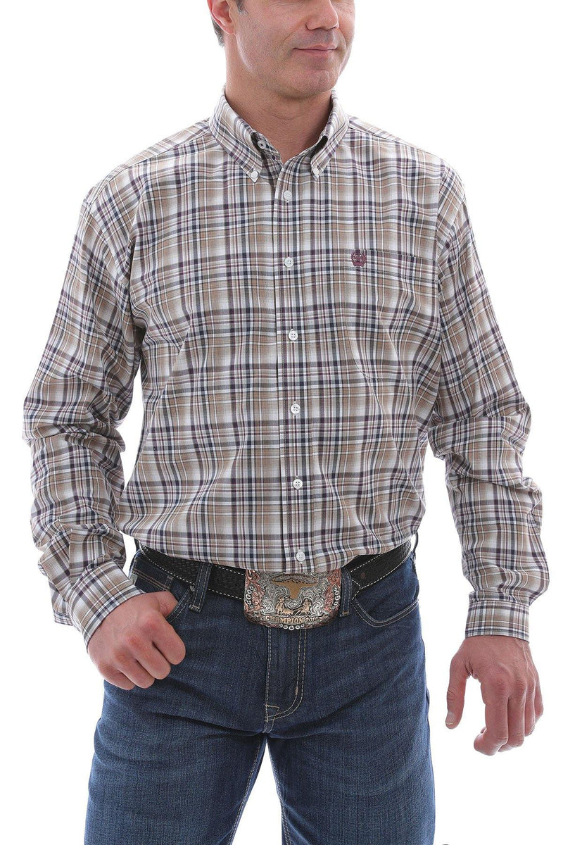 CINCH WHITE, BROWN, NAVY AND BURGUNDY PLAID BUTTON SHIRT - Patton's