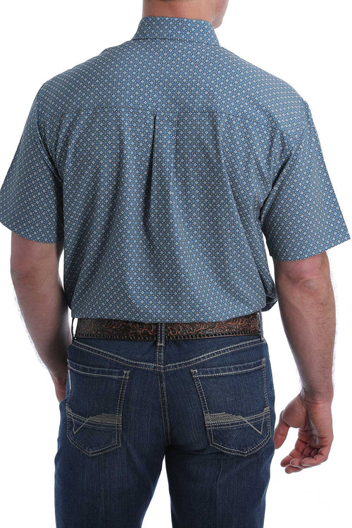 CINCH MEN'S ARENAFLEX BLUE GEOMETRIC SS BUTTON SHIRT