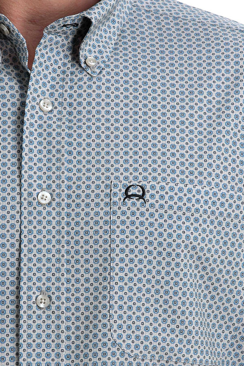 CINCH ARENAFLEX LIGHT BLUE & WHITE GEOMETRIC SS BUTTON SHIRT