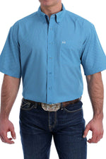 CINCH ARENAFLEX BLUE GEOMETRIC PRINT SS BUTTON SHIRT