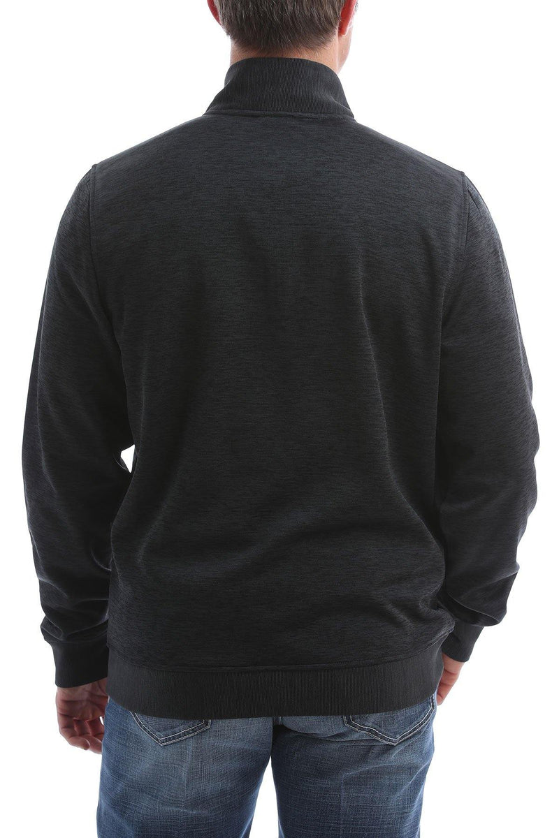 CINCH SWEATER KNIT 1/4 ZIP HEATHERED BLACK