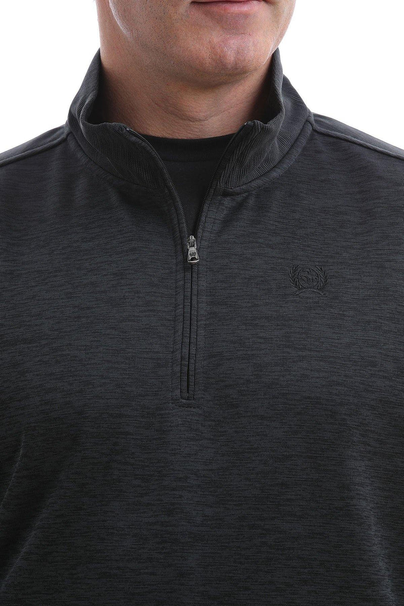 CINCH SWEATER KNIT 1/4 ZIP HEATHERED BLACK - Patton's