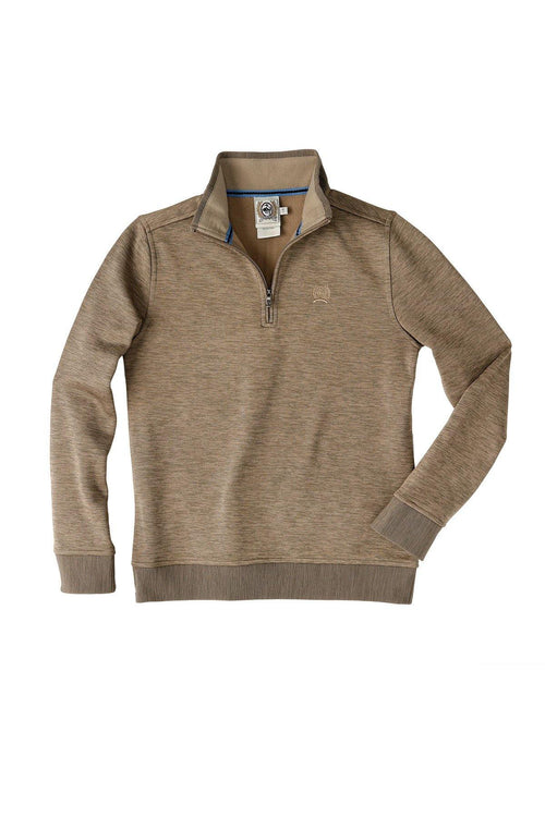CINCH BOY'S SWEATER KNIT 1/4 ZIP HEATHERED KHAKI - Patton's