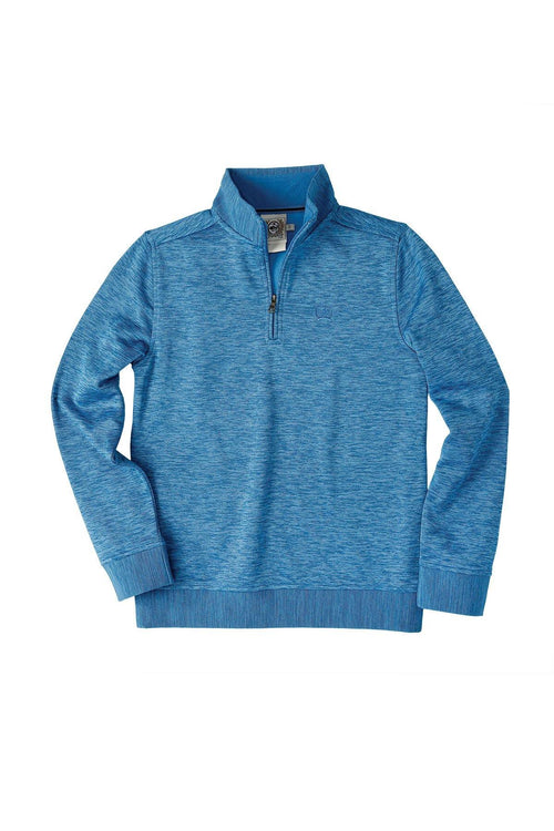 CINCH BOY'S SWEATER KNIT 1/4 ZIP HEATHERED BLUE - Patton's