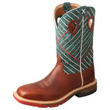 TWISTED X CELL STRETCH COGNAC/DARK GREEN ALLOY TOE WORK BOOT