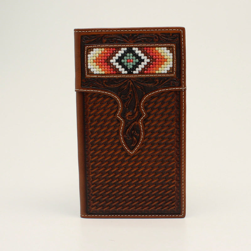 NOCONA RODEO WALLET BASKET WEAVE DIAMOND BEADED TAN