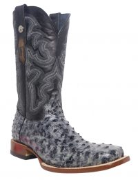 TANNER MARK BLACK RUSTIC FULL QUILL OST PRINT SQUARE TOE BOOTS