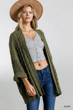 ALYSSA CABLE KNIT SWEATER CARDIGAN