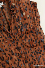 ANNELISE ANIMAL PRINT BUTTON TOP - Patton's