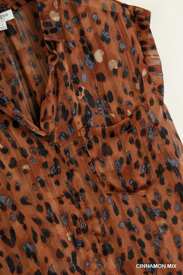 ANNELISE ANIMAL PRINT BUTTON TOP
