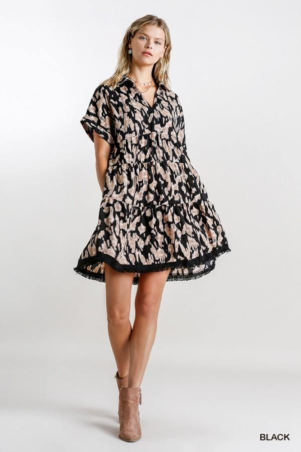 SARAH ANIMAL PRINT TIERED DRESS
