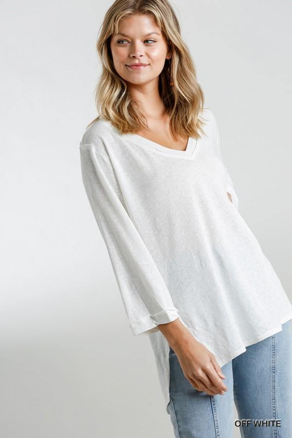 AUBREY V NECK 3/4 SLEEVE TOP - Patton's