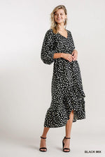 WHITNEY DALMATIAN HIGH LOW MIDI DRESS - Patton's
