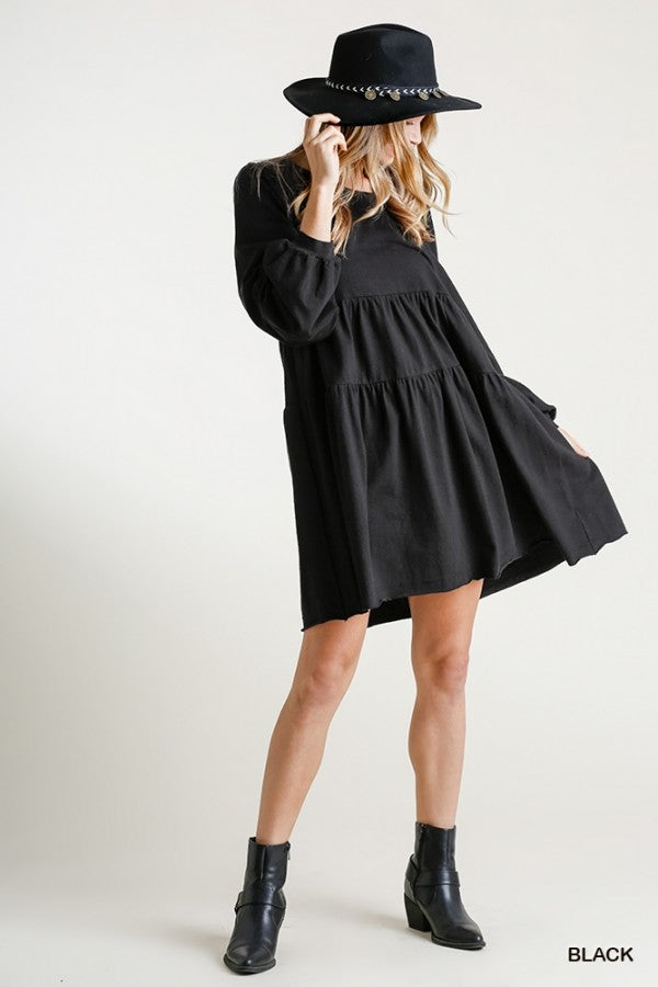 MARLEY ROUND NECK BABYDOLL DRESS