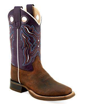 OLD WEST YOUTH OILED BROWN AND DARK VIOET BOOT