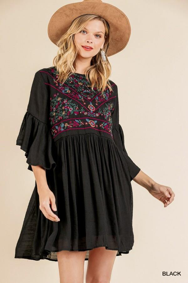 AMBER 3/4 BELL SLEEVE KEYHOLE DRESS - Patton's