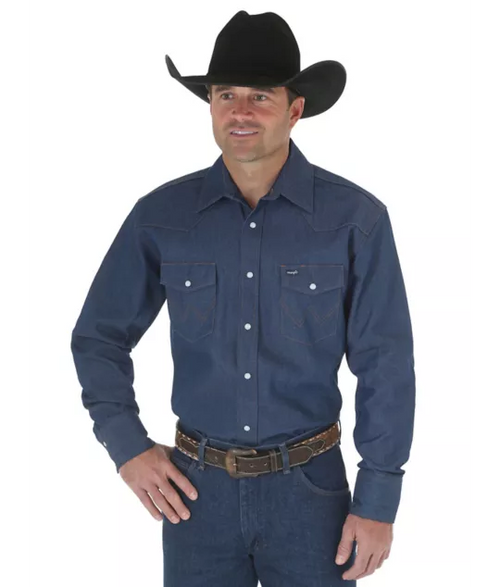 WRANGLER COWBOY CUT® DENIM LONG SLEEVE WESTERN WORK SHIRT - Patton's
