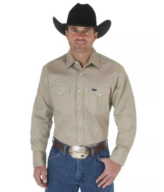 WRANGLER COWBOY CUT® KHAKI LONG SLEEVE WESTERN WORK SHIRT - Patton's