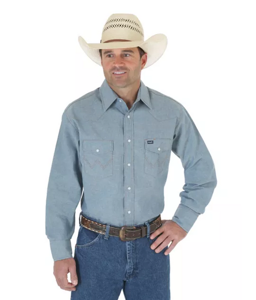 WRANGLER COWBOY CUT CHAMBRAY LONG SLEEVE WESTERN WORK SHIRT - Patton's